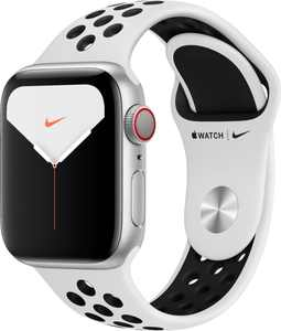 Apple Watch Nike Series 5 (GPS + Cellular) 40mm Silver Aluminum Case with Pure Platinum/Black Nike Sport Band - Silver Aluminum
