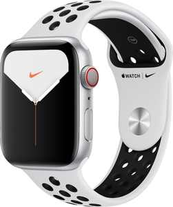 Apple Watch Nike Series 5 (GPS + Cellular) 44mm Silver Aluminum Case with Pure Platinum/Black Nike Sport Band - Silver Aluminum