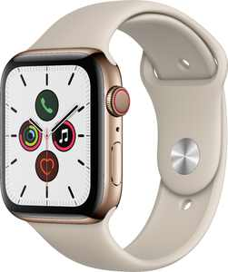 Apple Watch Series 5 (GPS + Cellular) 44mm Gold Stainless Steel Case with Stone Sport Band - Gold Stainless Steel