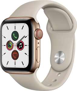 Apple Watch Series 5 (GPS + Cellular) 40mm Gold Stainless Steel Case with Stone Sport Band - Gold Stainless Steel