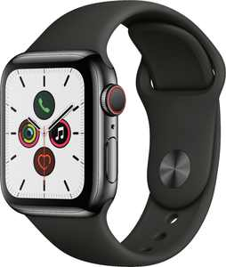Apple Watch Series 5 (GPS + Cellular) 40mm Space Black Stainless Steel Case with Black Sport Band - Space Black Stainless Steel