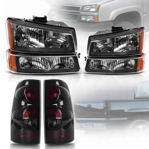 Yitamotor Projector Headlights Black For 2003-2007 Chevy Silverado + SMOKE Tail Lights Head Light Assembly Set