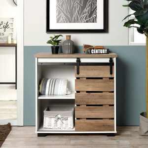 FurnitureR 32.3'' Sliding Slat  Barn Door Accent Cabinet White/Rustic Wood