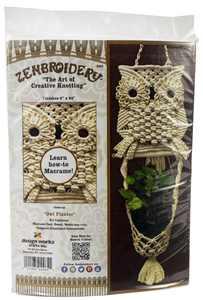 "Design Works/Zenbroidery Macrame Wall Hanging Kit 8""X24""-Owl Planter"