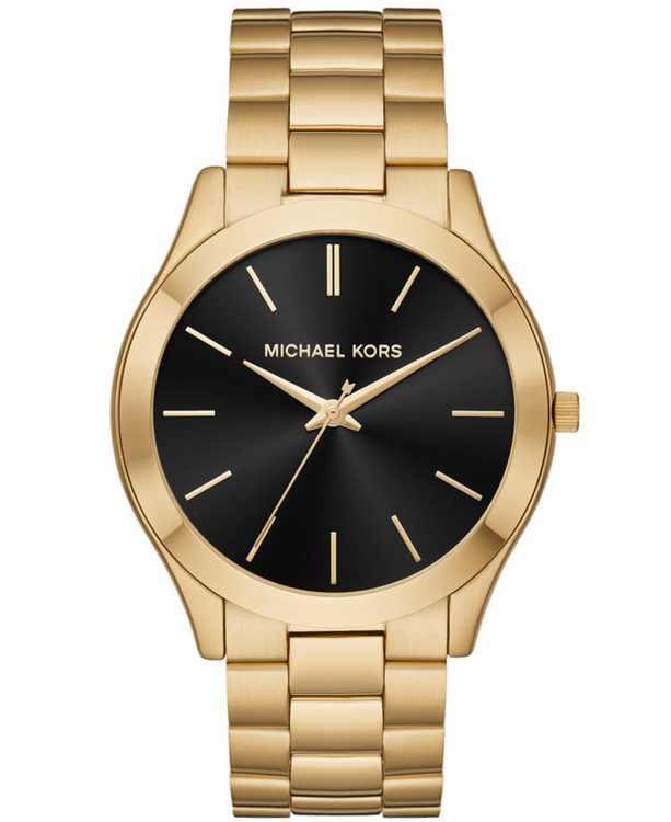 Men's Slim Runway Gold-Tone Stainless Steel Bracelet Watch 44mm