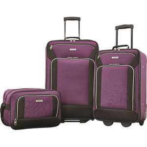 American Tourister - Fieldbrook XLT Expandable Wheeled Luggage Set (3-Piece) - Purple/Black