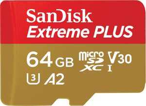 SanDisk - Extreme PLUS 64GB microSDXC UHS-I Memory Card