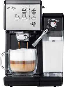 Mr. Coffee - Espresso Machine with 19 bars of pressure and Milk Frother - Stainless Steel