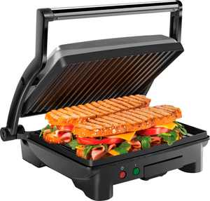 CHEFMAN - Panini Press Grill and Sandwich Maker, Non-Stick Plates, Opens 180 Degrees, Removable Drip Tray - 4 Slice - Stainless Steel