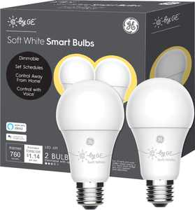 C by GE - A19 Bluetooth Smart LED Bulb with Google Assistant/Alexa/HomeKit (2-Pack) - White Only
