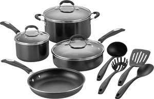 Cuisinart - 11-Piece Cookware Set - Black/Silver