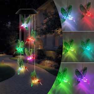 Solar Color Changing Wind Chime Mobile LED Home Garden Valentine Decor Humming Bird Light