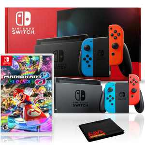 Nintendo Switch with Neon Blue and Red Joy-Con Bundle with Mario Kart 8 Deluxe