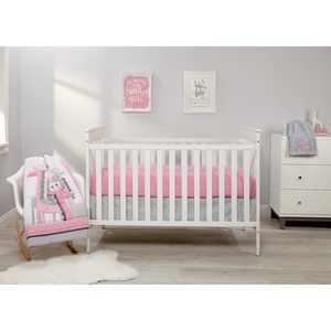 Little Love by NoJo Giraffe Time Pink 4 Piece Crib Bedding Set