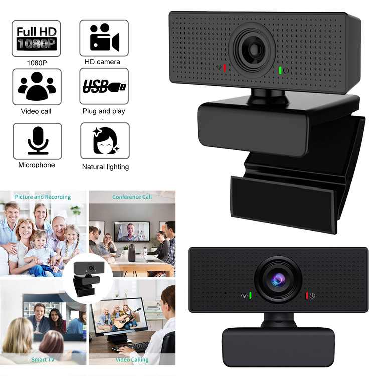 1080P HD Webcam Video Call Pro Streaming Computer Web Camera with Mic, Widescreen USB Computer Camera for PC Laptop Desktop Video Calling Online Teaching Business Meeting, Face Camera with Auto Focus