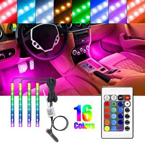4Pcs 36LED RGB Remote Control Colorful Car Interior Decoration Atmosphere Light Strips, Multi-color Car LED Interior Strip Lights, Under Dash LED Lighting Kit with 12V Cigarette Lighter Switch