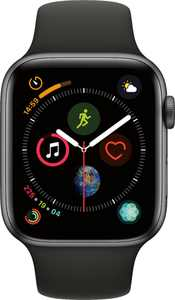 Geek Squad Certified Refurbished Apple Watch Series 4 (GPS) 44mm Space Gray Aluminum Case with Black Sport Band - Space Gray Aluminum