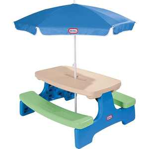 Little Tikes - Easy Store Picnic Table with Umbrella - Blue/Green