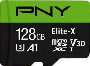 PNY - 128GB Elite-X Class 10 U3 V30 microSDXC Flash Memory Card