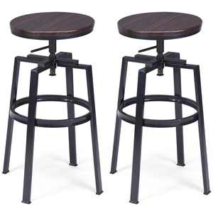 Costway Bar Stool with Swivel & Adjustable Height, Brown, Set of 2
