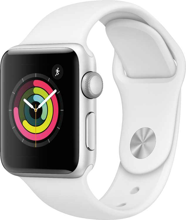GSRF Apple Watch Series 3 (GPS) 38mm Silver Aluminum Case with White Sport Band - Silver Aluminum