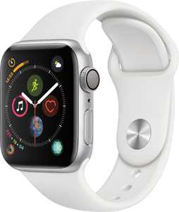 Geek Squad Certified Refurbished Apple Watch Series 4 (GPS) 40mm Silver Aluminum Case with White Sport Band - Silver Aluminum