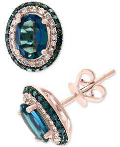 EFFY London Blue Topaz (2-1/6 ct. t.w.) & Diamond (3/8 ct. t.w.) Stud Earrings in 14k Rose Gold