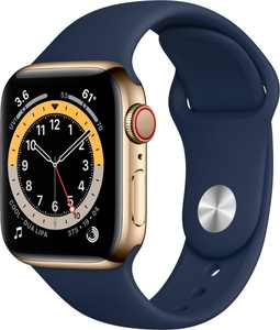 Apple Watch Series 6 (GPS + Cellular) 40mm Gold Stainless Steel Case with Deep Navy Sport Band - Gold