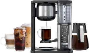 Ninja - 10-Cup Specialty Coffee Maker with Fold-Away Frother and Glass Carafe CM401 - Black/Stainless Steel