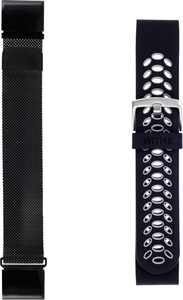 WITHit - 22mm Watch Bands for Garmin fēnix 5 and 5 Plus (2-Pack) - Black/Gray Sport & Black Mesh