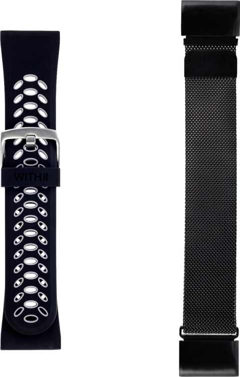 WITHit - 26mm Watch Bands for Garmin fēnix 5X and 5X Plus (2-Pack) - Black/Gray Sport & Black Mesh