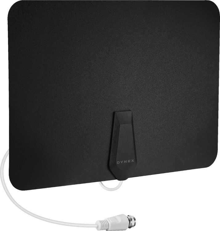 Dynex - Long-Range Paper Thin HDTV Antenna - Black/White