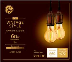 GE - Vintage 560-Lumen, 6W Dimmable A19 LED Light Bulb, 60W Equivalent (2-Pack) - Amber