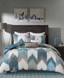 CLOSEOUT! Alpine Cotton Reversible King Chevron Stripe Print Duvet Mini Set