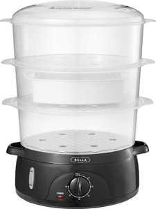 Bella - 9.5-Qt. 3-Tier Food Steamer - Black/Clear