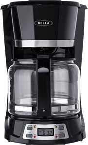 Bella - 12-Cup Coffee Maker - Black/Stainless Steel