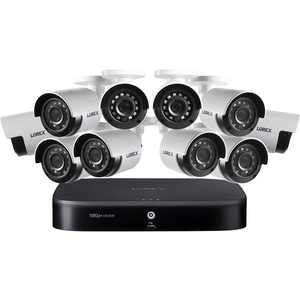 Lorex - 16-Channel, 10-Camera Indoor/Outdoor Wired 1080p 2TB DVR Surveillance System - Black/White