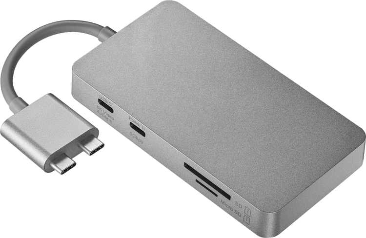 Platinum - Dual USB-C-to-8-Port Hub for Select Apple MacBook Laptops - Space Gray