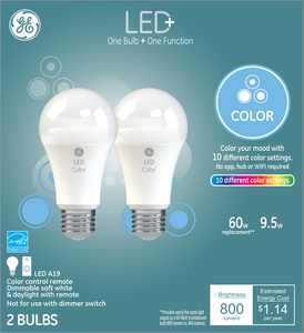 GE LED+ Color Changing 60W Replacement LED General Purpose A19 Light Bulbs, 2 Pack