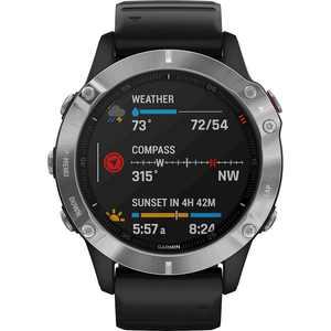 Garmin - fēnix 6 Smartwatch 47mm Fiber-Reinforced Polymer - Silver with Black Silicone Band