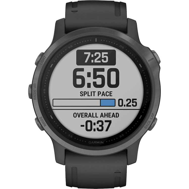 Garmin - fēnix 6S Sapphire Smartwatch 42mm Fiber-Reinforced Polymer - Carbon Gray DLC with Black Silicone Band