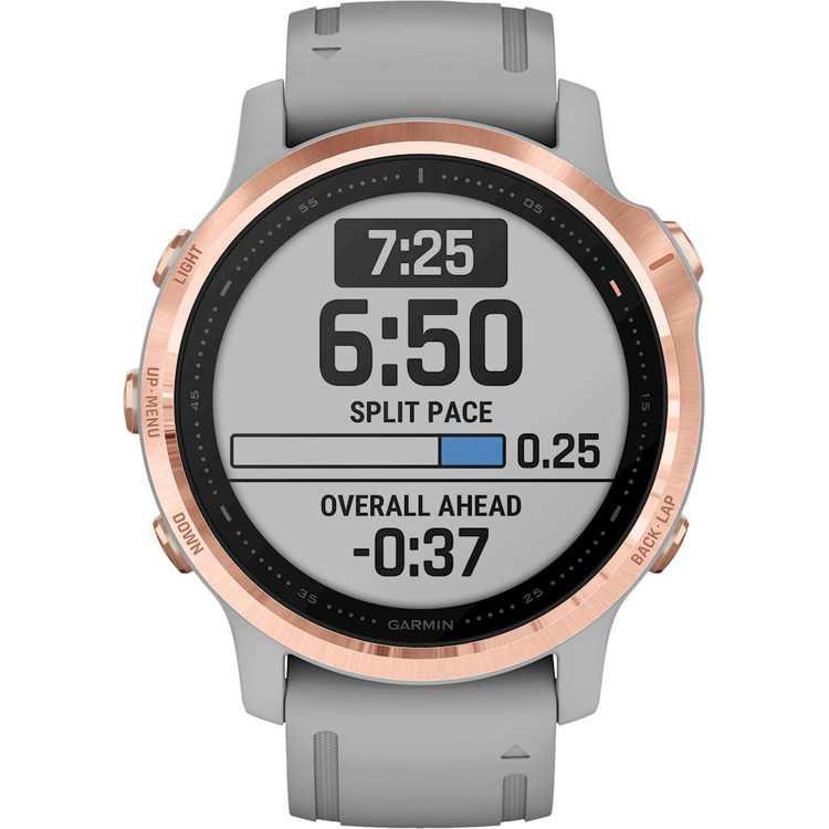Garmin - fēnix 6S Sapphire Smartwatch 42mm Fiber-Reinforced Polymer - Rose Gold-tone with Powder Gray Silicone Band