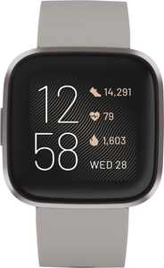 Fitbit - Versa 2 Smartwatch 40mm Aluminum - Stone/Mist Gray with Silicone Band