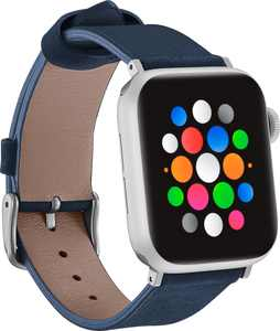 Platinum - Soft Leather Watch Strap for Apple Watch 38mm and 40mm - Navy