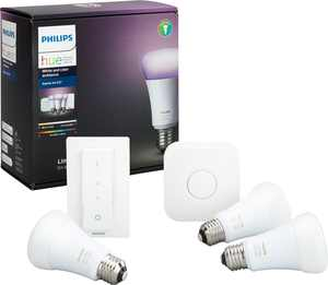 Philips - Hue White & Color Ambiance A19 LED Starter Kit - Multicolor