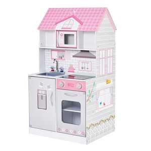 Teamson Kids - Wonderland Ariel 2 in 1 Doll House and Play Kitchen, Pink/Grey