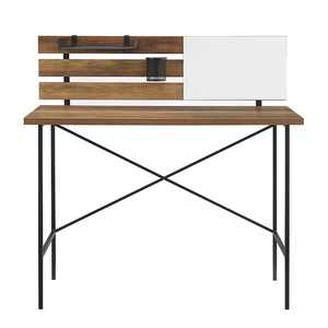 Walker Edison - White Board Slat Back Wood Computer Desk - Reclaimed Barnwood