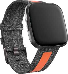 Woven Small Watch Band for Fitbit Versa 2 and Versa Lite - Charcoal / Orange