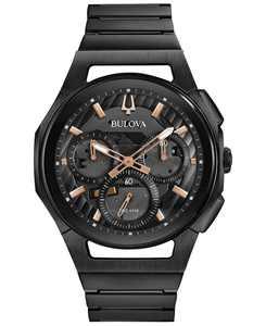 Men's Chronograph Curv Black Stainless Steel Bracelet Watch 44mm