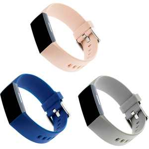 WITHit - Silicone Band for Fitbit Charge 3 and Charge 4 (3-Pack) - Navy/Blush Pink/Light Gray